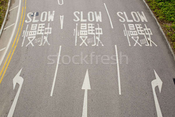 Bilingual (English and Chinese) Slow road sign for driver Stock photo © art9858