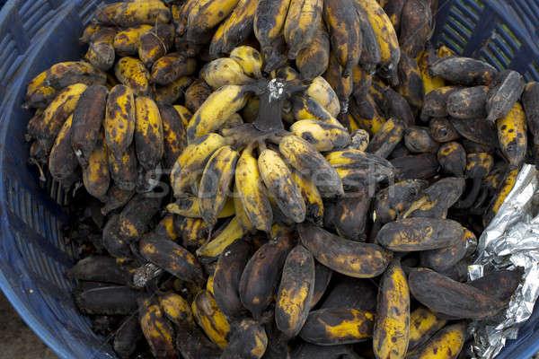 Muz tablo siyah cilt kahvaltı Stok fotoğraf © art9858