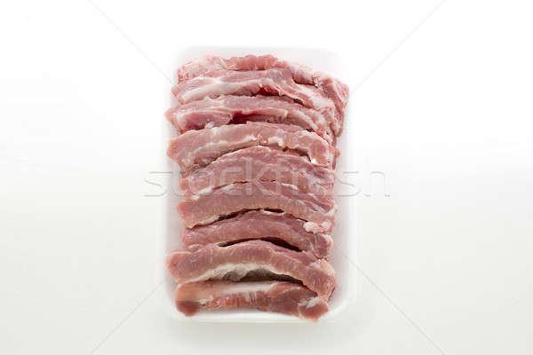 Raw Pork Ribs Isolated On White Background Stock photo © art9858
