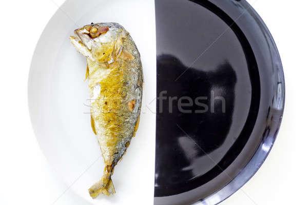 Cavala preto e branco comida peixe mar Foto stock © art9858