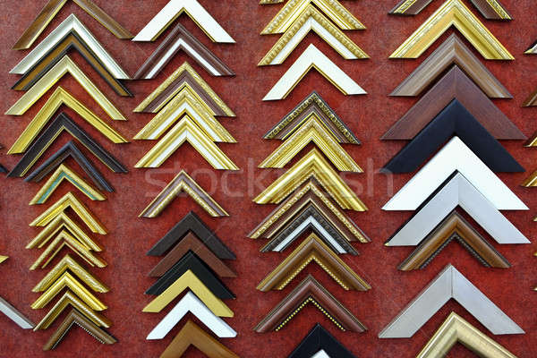 Collection of photo corners, frames and edges isolated on red ba Stock photo © art9858