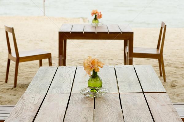 romantic table setup on tropical beach Stock photo © art9858