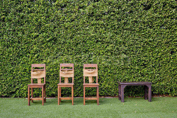 Decorate three wooden chairs and coffee table against the green  Stock photo © art9858