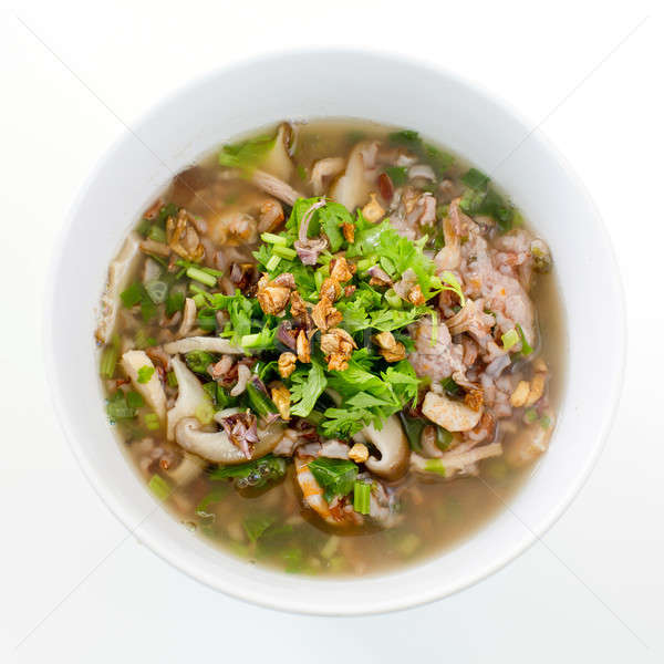 rice congee mixed with meat or rice gruel with pork, dried shrim Stock photo © art9858