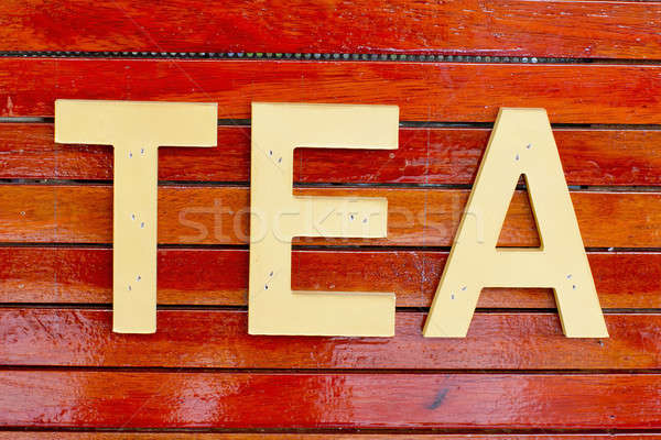 Tea word, made from wood Stock photo © art9858