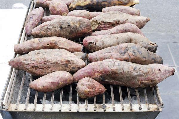 Zoete aardappel kleur plantaardige vers barbecue Stockfoto © art9858