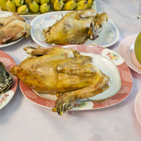Stock photo: boiled chicken for make a sacrifice to gods (among the Chinese)