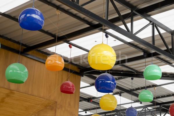 Kleurrijk opknoping keramische lamp decoratie ontwerp Stockfoto © art9858