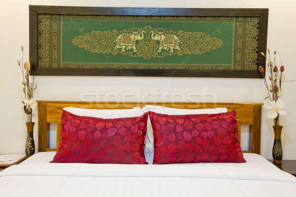 Modern Asian-style bed with nice silk screen with frame in bedro Stock photo © art9858