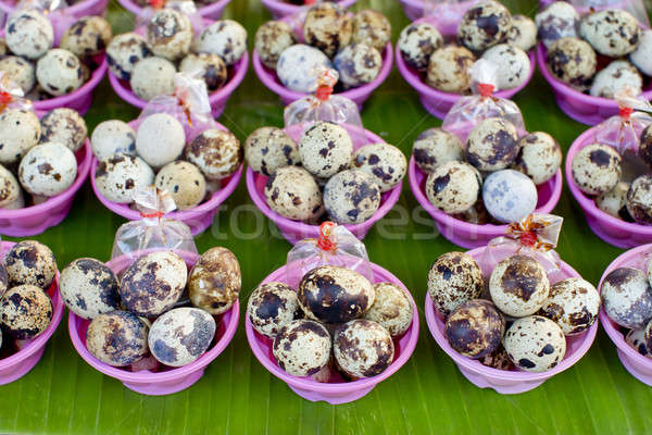 boiled quail eggs with soy sauce, street food in Thailand Stock photo © art9858