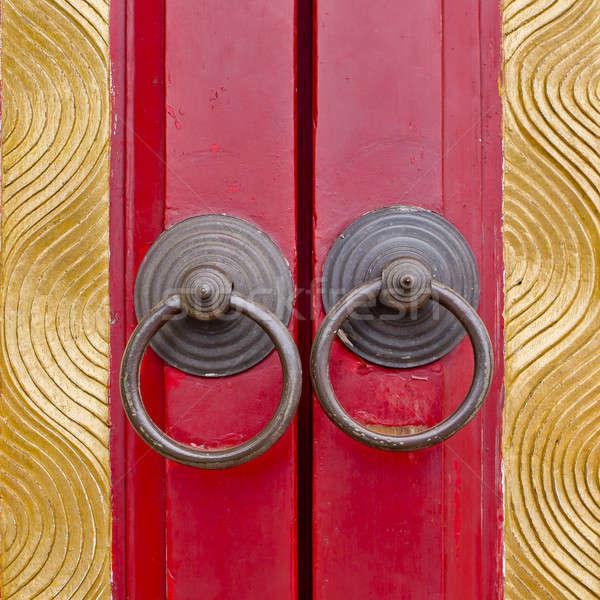 Alten chinesisch Tür Griff Holz Design Stock foto © art9858