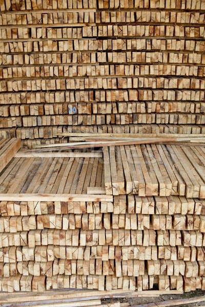 Saw timber prepared for winter heating season Stock photo © art9858