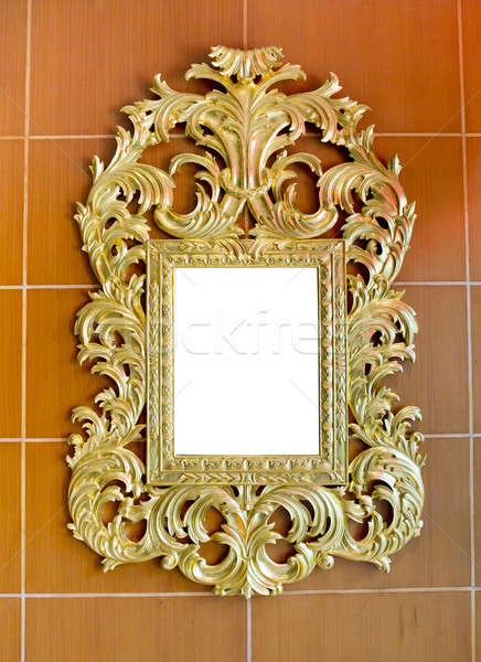 Goud vintage spiegel geïsoleerd bruin tegels Stockfoto © art9858