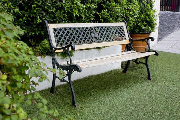 White classic bench in the garden Stock photo © art9858