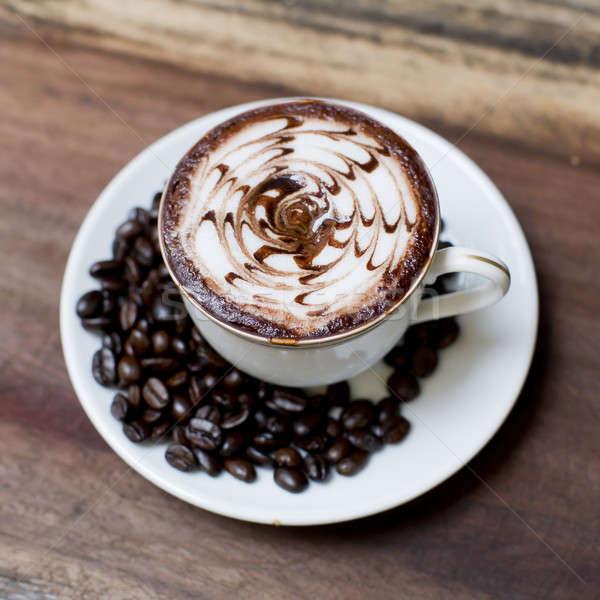 Beker koffie houten tafel achtergrond ruimte drinken Stockfoto © art9858