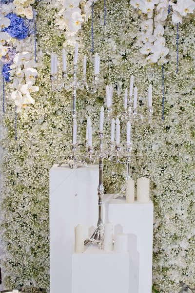 Retro bianco candele isolato fuoco sfondo Foto d'archivio © art9858