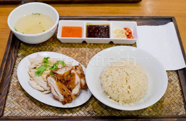 Stock photo: Hainanese Chicken Rice - Mixed Boil Chicken and Crisy Chicken