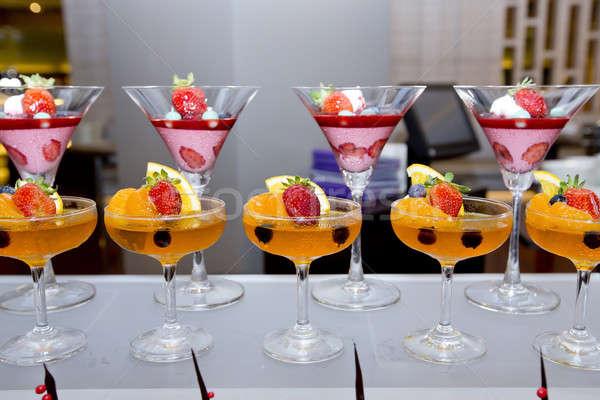 Glas vers fruit gelei voedsel vruchten tuin Stockfoto © art9858