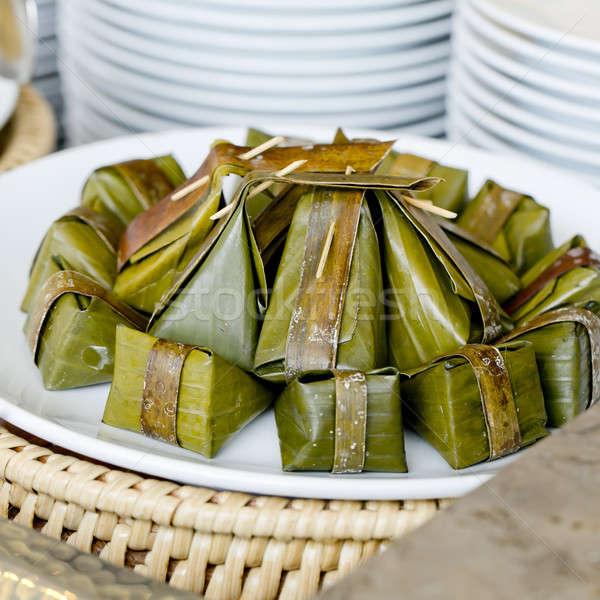 Thai stílus desszert párolt liszt kókusz Stock fotó © art9858