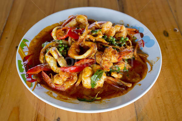 Stir Fried Seafood with Thai herbs Stock photo © art9858