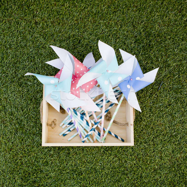 Colorful toy pinwheel against green grass background Stock photo © art9858