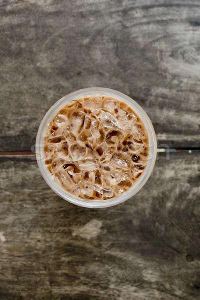 ストックフォト: 先頭 · 表示 · 冷たい · コーヒー · ドリンク · 氷