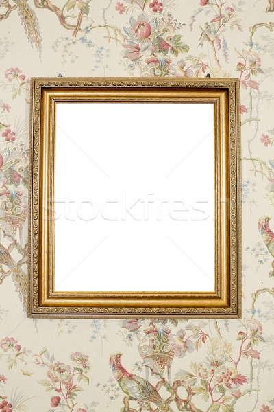 Antika altın çerçeve yalıtılmış beyaz ahşap Stok fotoğraf © art9858