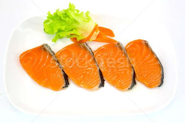 Isolado fatia salmão comida peixe branco Foto stock © art9858