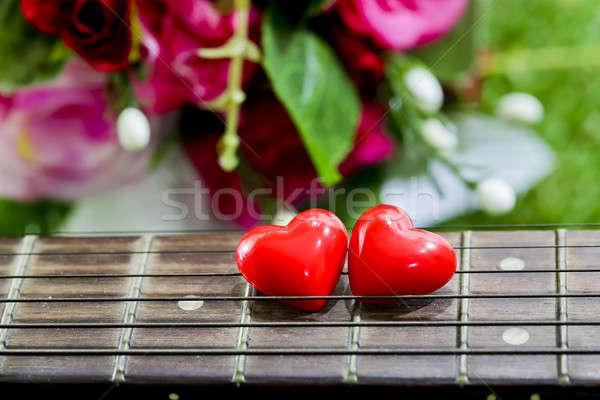 Hart nek gras bloem liefde gitaar Stockfoto © art9858