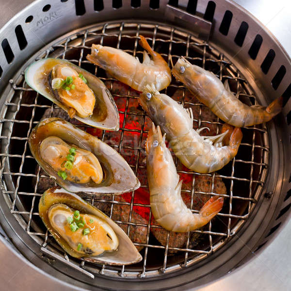 grilled seafood, prawns and squids Stock photo © art9858