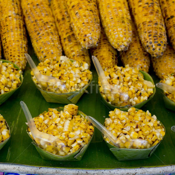 Organic Grilled Corn on the grille with flames ready to sale and Stock photo © art9858
