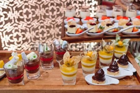 Vetro frutta fresca gelatina alimentare frutta giardino Foto d'archivio © art9858
