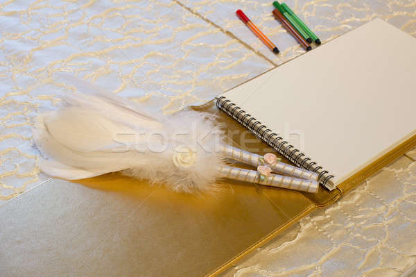 Photo of a wedding register and feather pen. Wedding guestbook. Stock photo © art9858