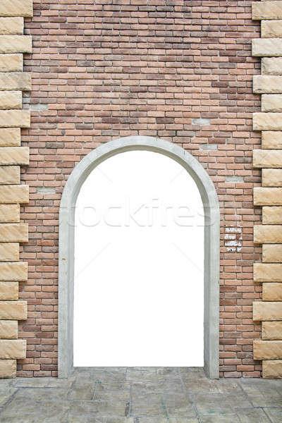 ストックフォト: 古い · レンガの壁 · ドア · 壁 · 日没