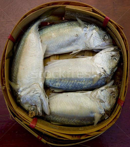Fresh raw mackerel fish in market. Stock photo © art9858