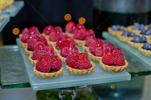Fresh fruit pie tart with with raspberry Stock photo © art9858