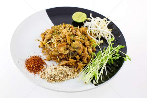 Thai Dish : Pad Thai with dried shrimp, yellow tofu, organic sno Stock photo © art9858