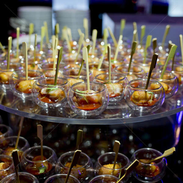 Finger Food in small glass with stick Stock photo © art9858