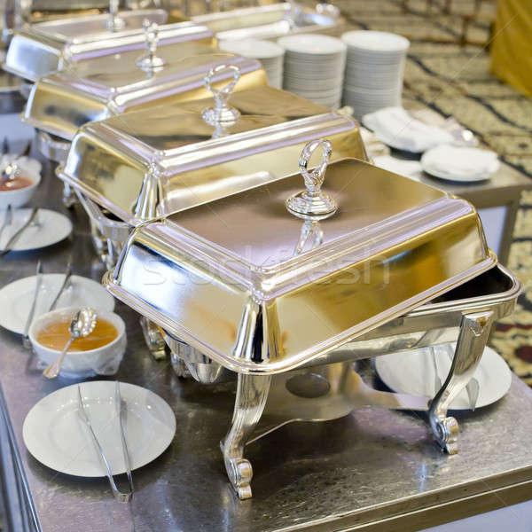 Buffet heated trays ready for service Stock photo © art9858