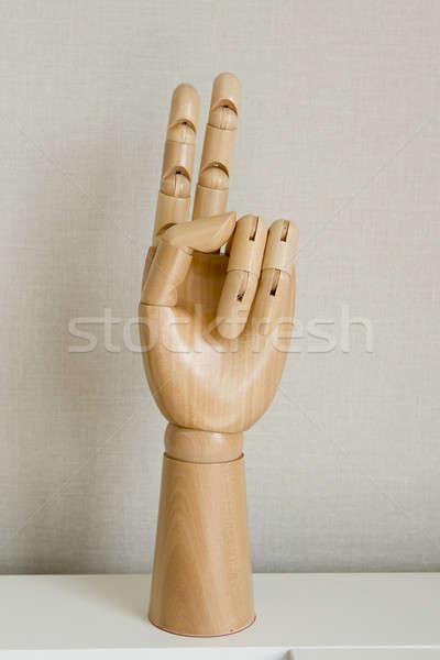 Signe de la main nombre deux isolé blanche Photo stock © art9858