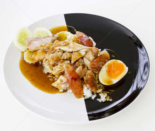 BBQ Pork and Crispy Pork over Rice with Sweet Gravy Sauce Stock photo © art9858