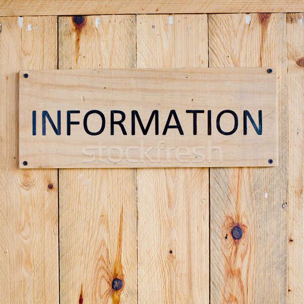 Információ jel fa tábla felirat utazás repülőtér Stock fotó © art9858