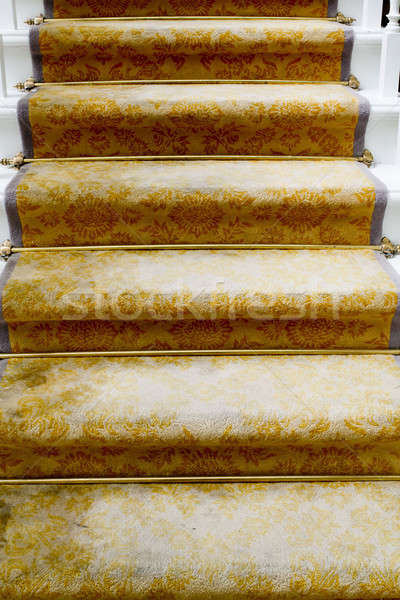 Staircase covered with luxury gold carpet Stock photo © art9858