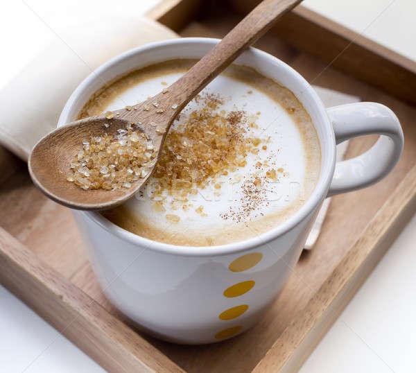 Azúcar moreno cuchara taza café restaurante Foto stock © art9858
