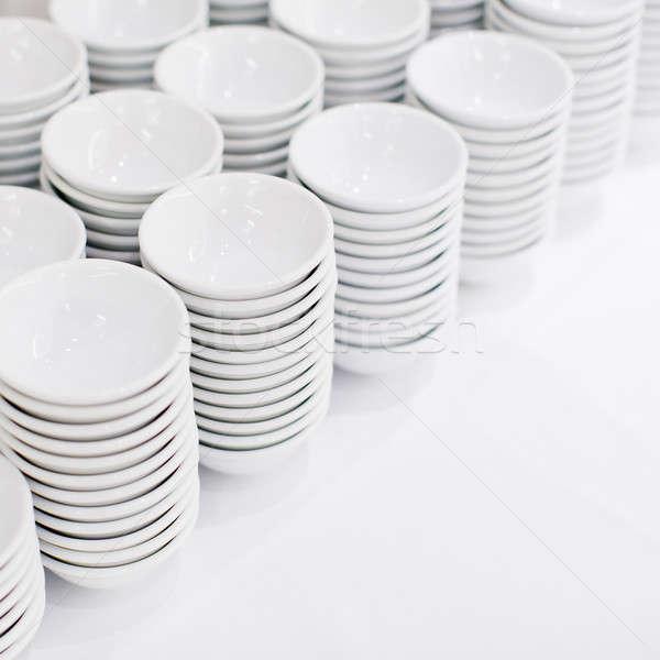 Witte gerechten soep kommen restaurant Stockfoto © art9858