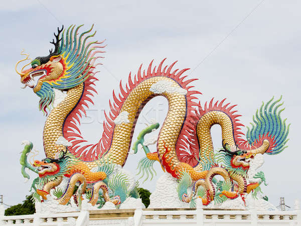 Китайский дракон древесины архитектура змеи китайский статуя Сток-фото © art9858