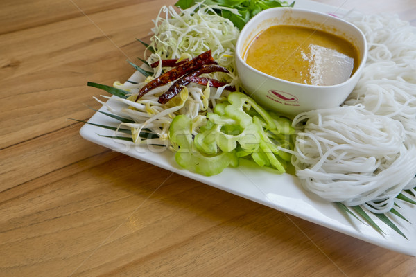 Noodles with Fish Curry - Thai Dish, in Thai Language we call Ka Stock photo © art9858