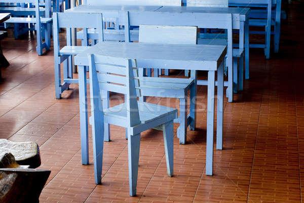 Klassiek Blauw stoelen hout school mode Stockfoto © art9858