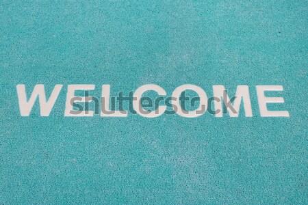 Blue welcome carpet, welcome doormat carpet Stock photo © art9858