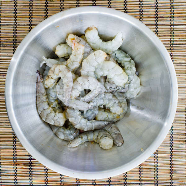 raw prawns in a white bowl without a marinate Stock photo © art9858